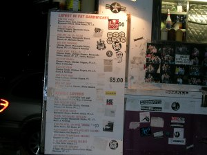 The menu of a Grease Truck.  Note the absense of little red hearts indicating the health-friendly items.
